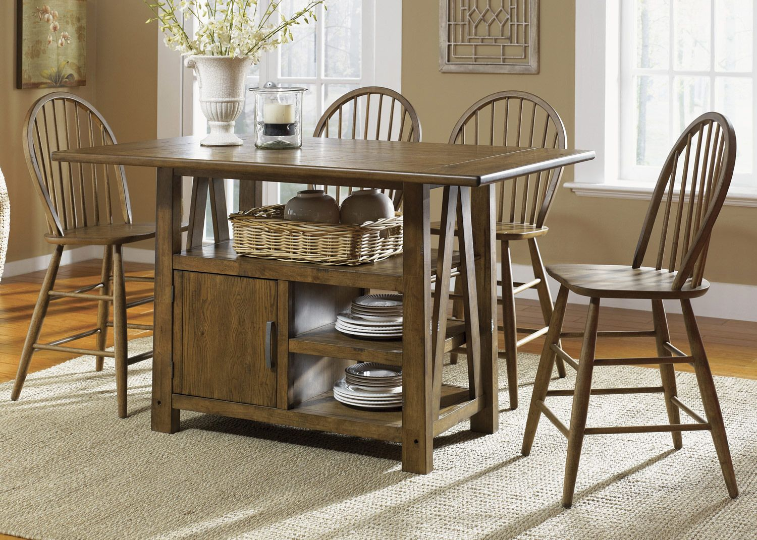 Farmhouse Rectangular Center Island Counter Height Table By Liberty Home Gallery Kitchen Table With Storage Kitchen Table Settings Stools For Kitchen Island