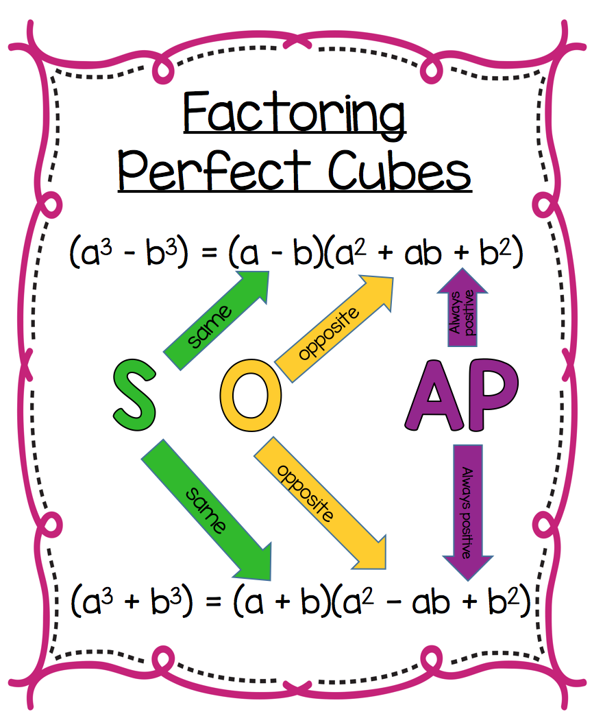Factoring Perfect Cubes  Free Poster To Remind Students Of The Soap Acronym