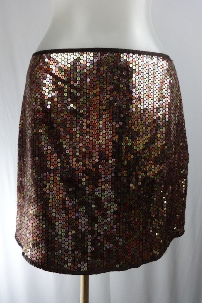 EXPRESS 3 4 Completly Sequinned Gold Brown Iridescent Pencil Mini Skirt