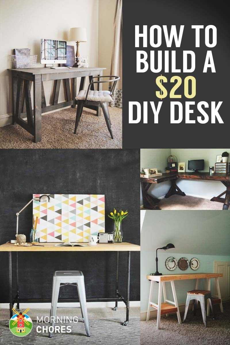How To Build A Desk For 20 Bonus 5 Cheap Diy Desk Plans Ideas Diy Desk Plans Diy Desk Built In Desk