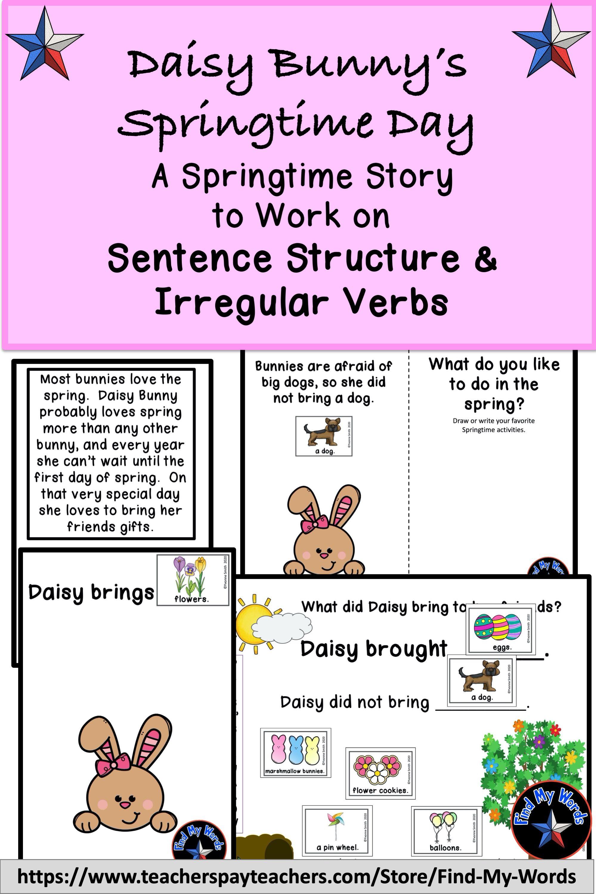 Springtime Sentence Structure Irregular Verb Activity Speech And Language Irregular Verbs Verbs Activities [ 2999 x 1999 Pixel ]