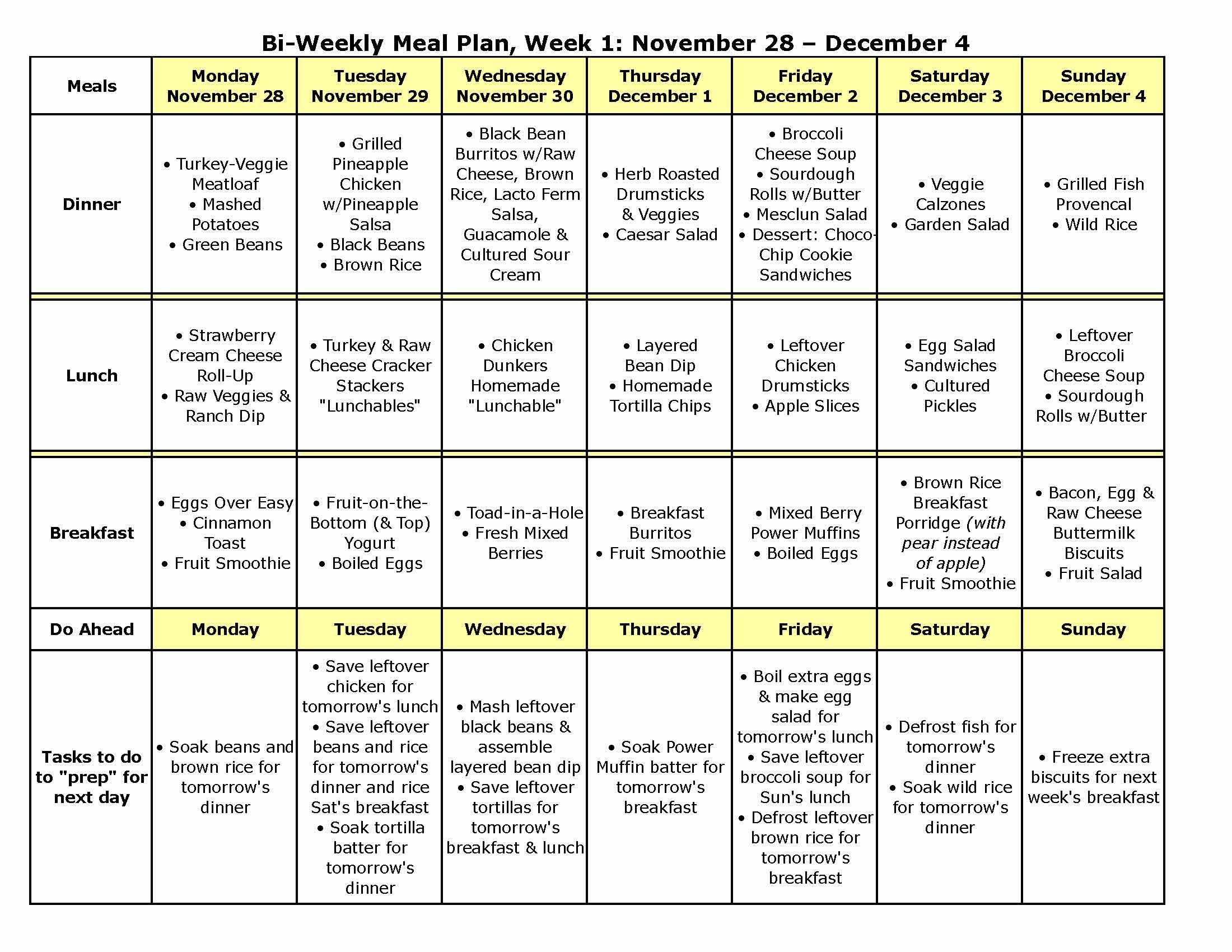 Bi Weekly Meal Plan 9a Has Recipes Too