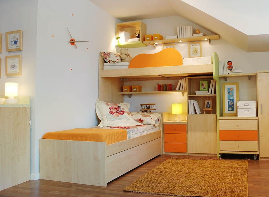 R82 dormitorio juvenil con litera en l y cama nido cajones y estantes de colgar facil mobel - Fabrica muebles barcelona ...