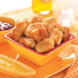 Homemade chicken nuggets. My family LOVES these! I NEVER buy store-bought or fast food ones anymore!
