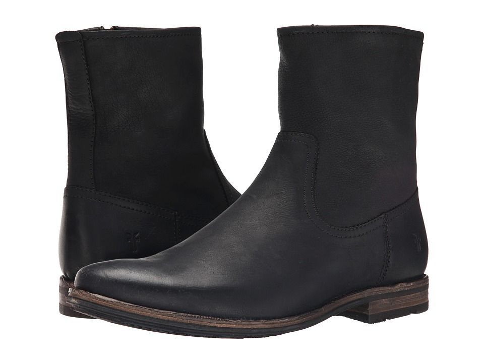FRYE FRYE - OSCAR INSIDE ZIP (BLACK TEXTURED FULL GRAIN) MEN'S ZIP BOOTS.