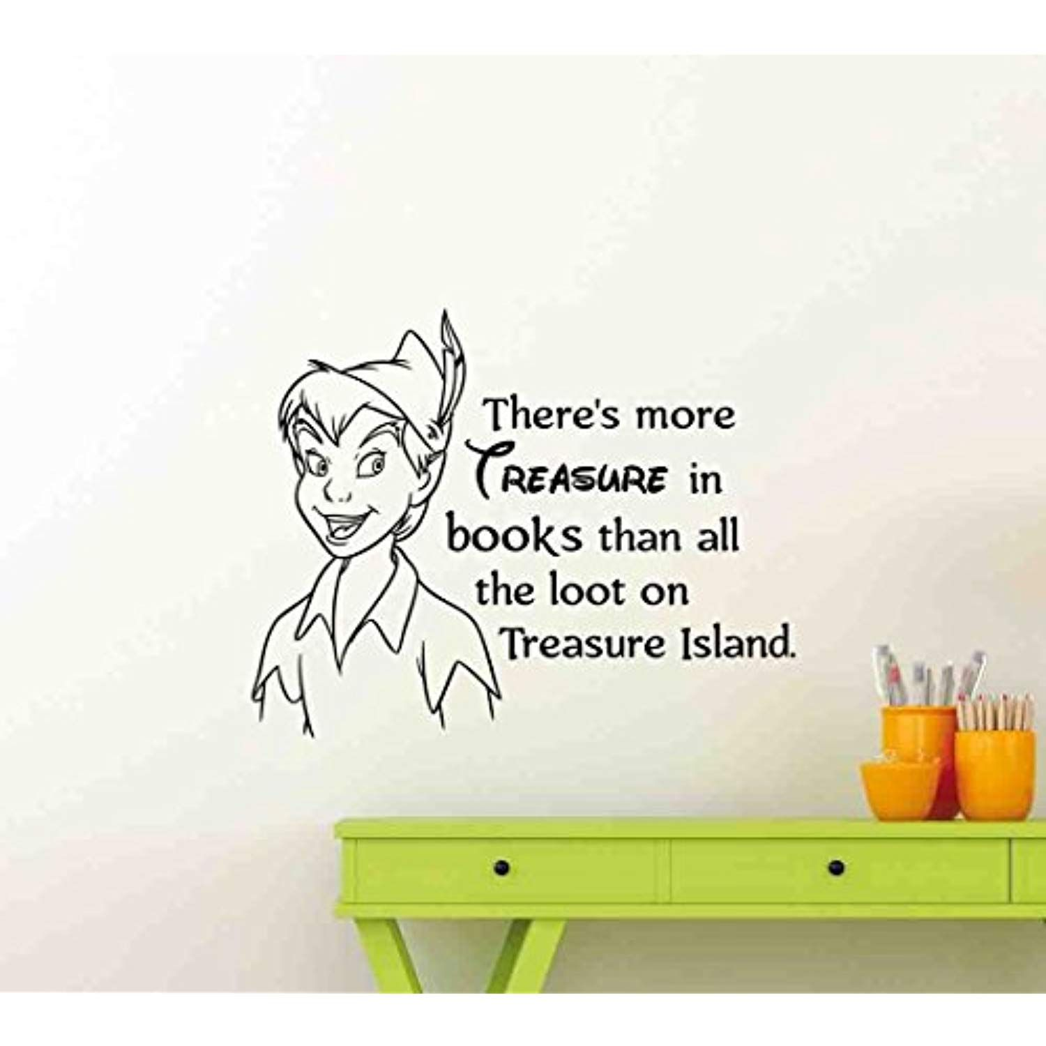 Peter Pan Wall Decal Walt Disney Quote There Is More Treasure In