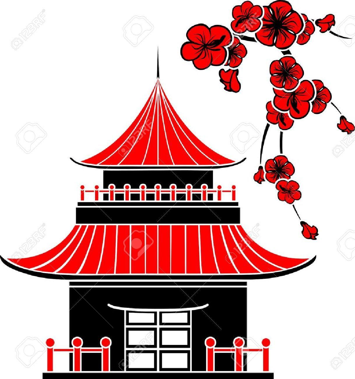 Asian House Cherry Blossoms Stencil Stock Vector Japanese China Clipart