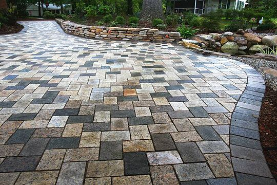 Recycled Granite Patio In A Mixed Blend Recycled Granite Paver - Granite patio pavers