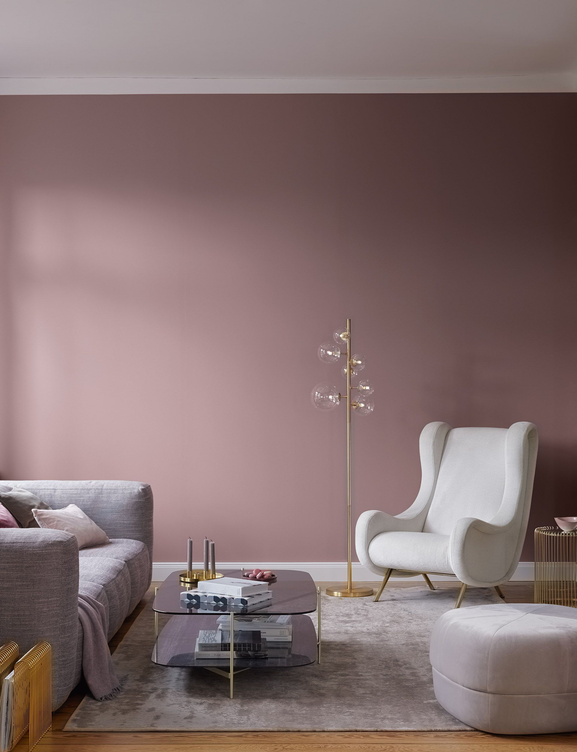 Ameublement Moderne Alpina Fines Couleurs Melodie De Grace Peinture Murale Rose Violette In 2020 Modern Furnishings Living Room Decor Apartment Room Color Schemes