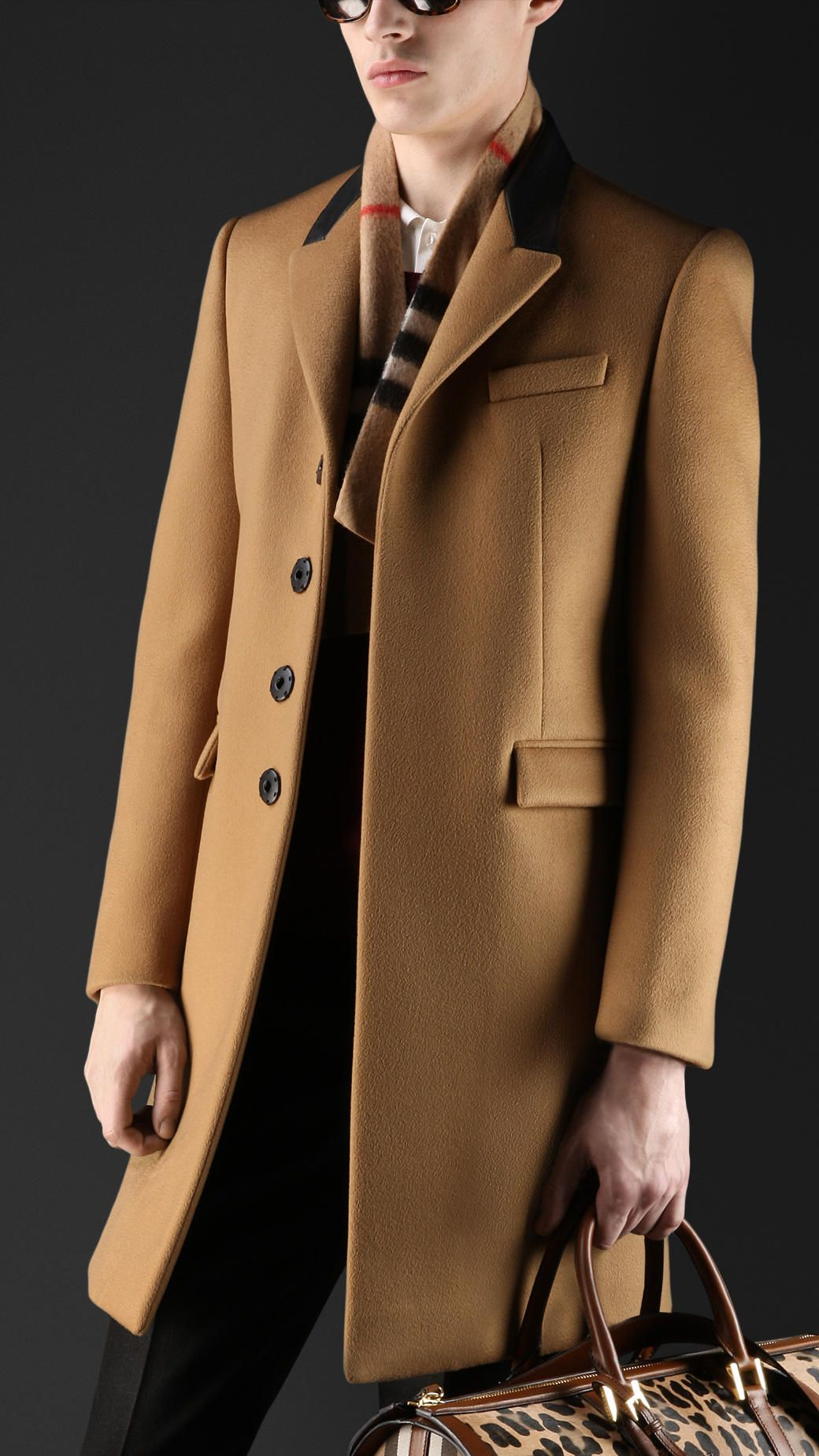 faa58af3ba0f Leather Collar Cashmere Chesterfield | Burberry Men's Coats | Pea, Duffle &  Top Coats