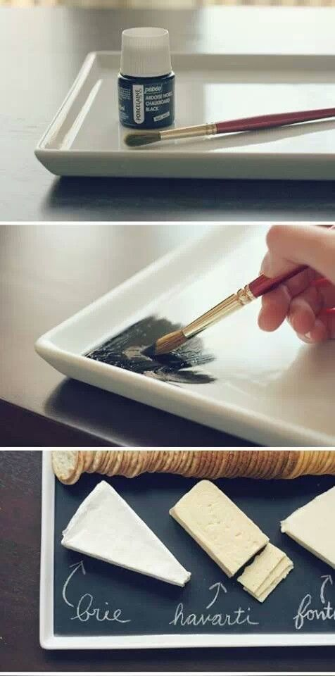 An easier version, easily find black paper placemats at a party store, add chalk and done!