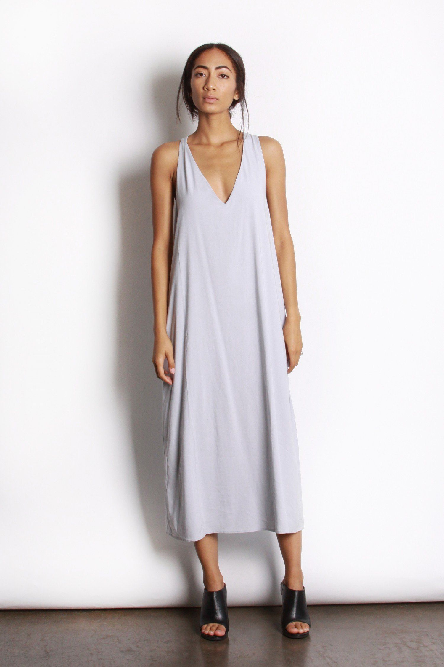 Long vneck dress with pockets products