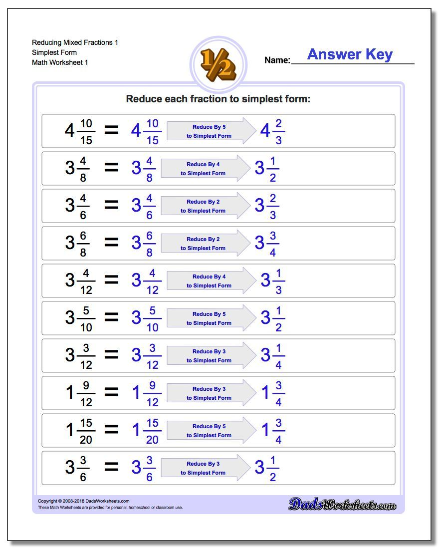 Reducing Mixed Fraction Worksheets 1 Simplest Form Worksheet #Reducing # Fraction #Worksheets   Fractions worksheets [ 1100 x 880 Pixel ]