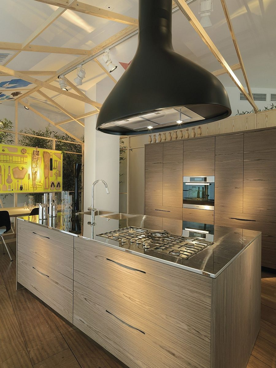 Küchen-design-griffe stylish kitchen island with wooden cabinets and stainless steel