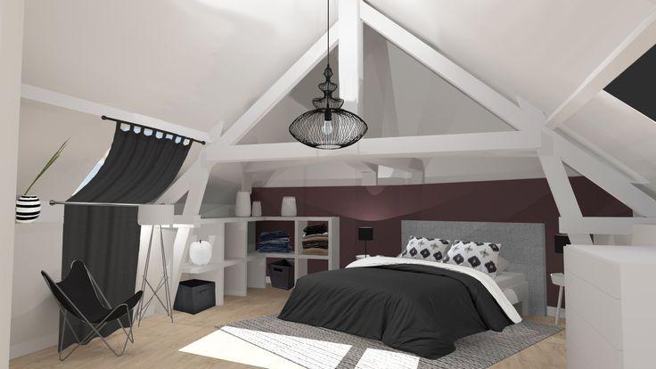 Suite Parentale Sous Les Combles Creation 3d Decoration Et Amenagement D 39 Espace Par Deco Chambre Parental Chambre Sous Combles