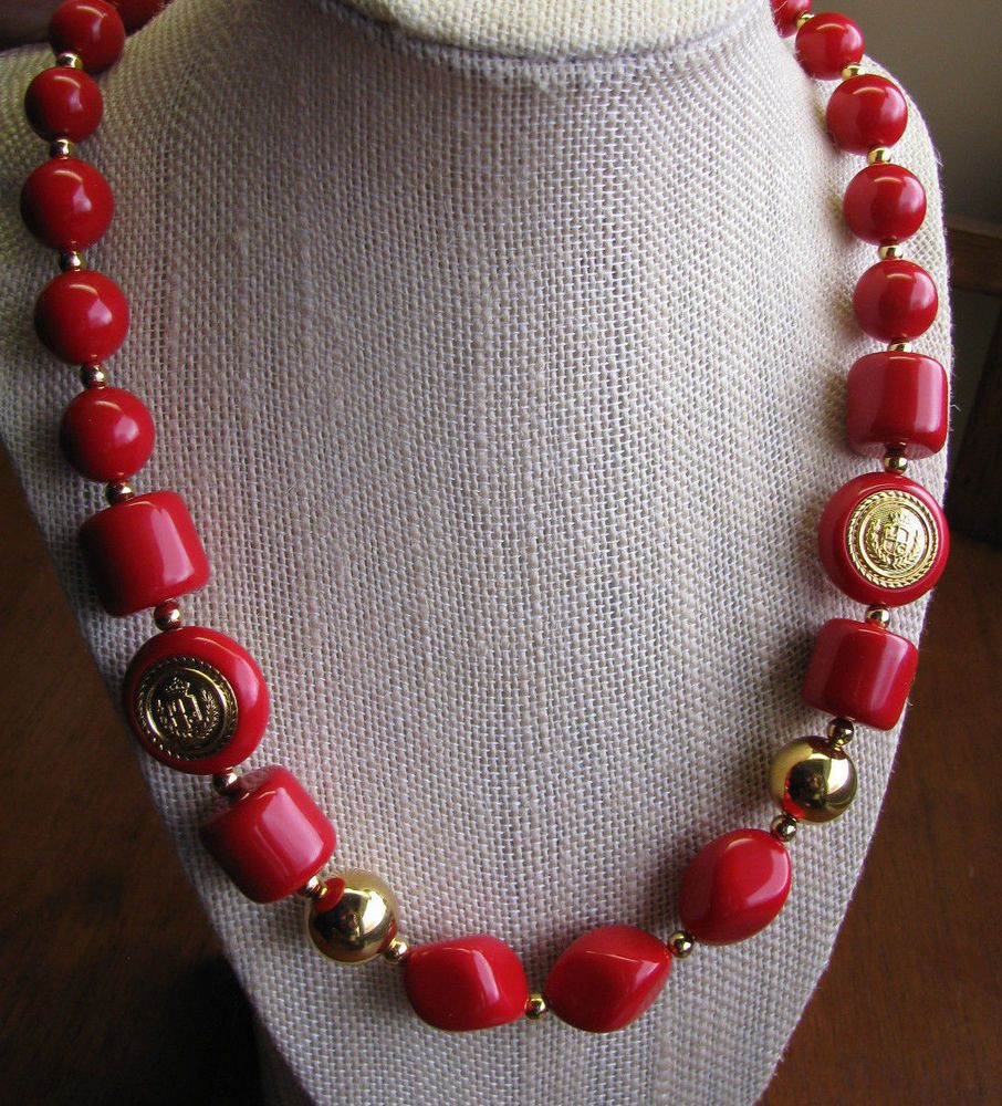 Vintage LIZ CLAIBORNE Signed LC CREST Insignia Red Bead NECKLACE