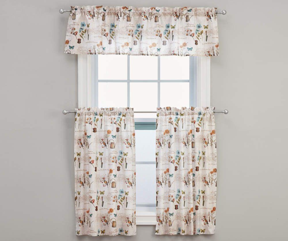 Living Colors Le Jardin Kitchen Tier Valance 3 Piece Set In 2020 Valance Tier Curtains Curtains
