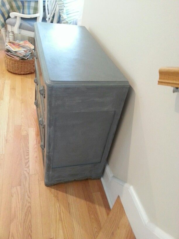 Very old painted chest updated with Annie Sloan chalk paint, before