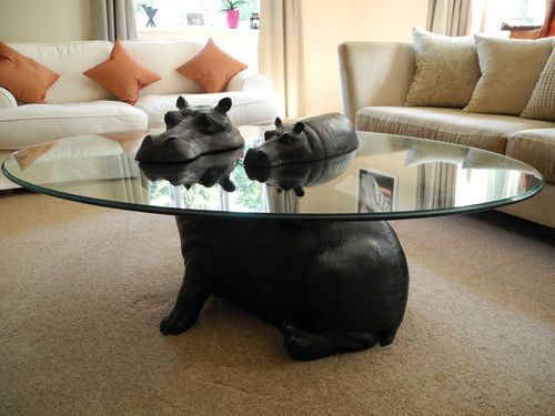 Hippo Coffee Table limited edition bronze mother & baby hippo coffee tablemark