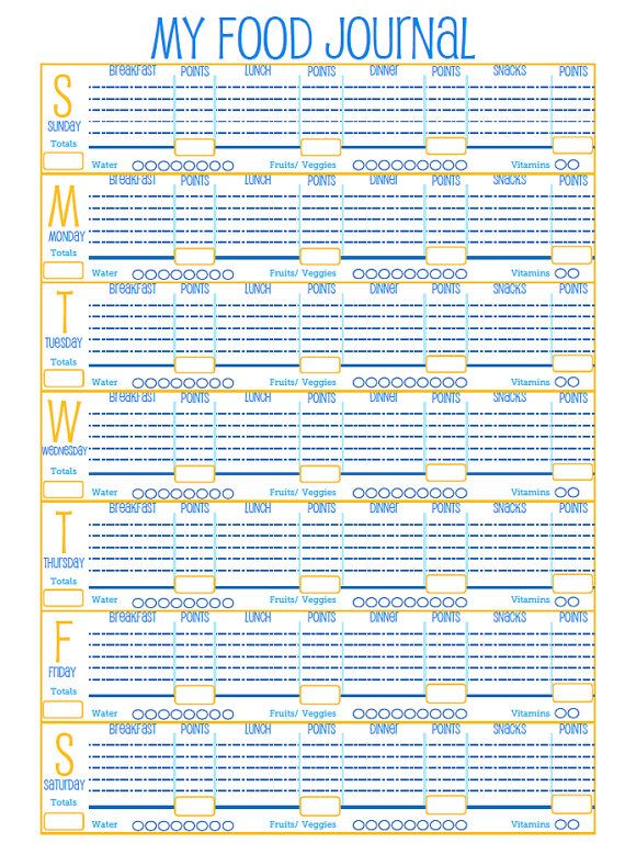 graphic about Printable Weight Watchers Journal identified as Pin upon fitness