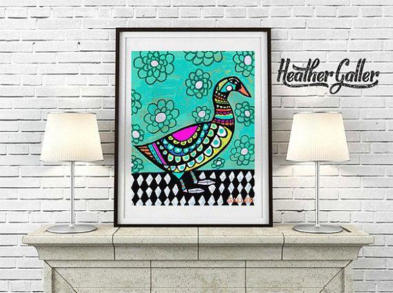 DIGITAL Print File  Duck Art Poster Print of by HeatherGallerArt