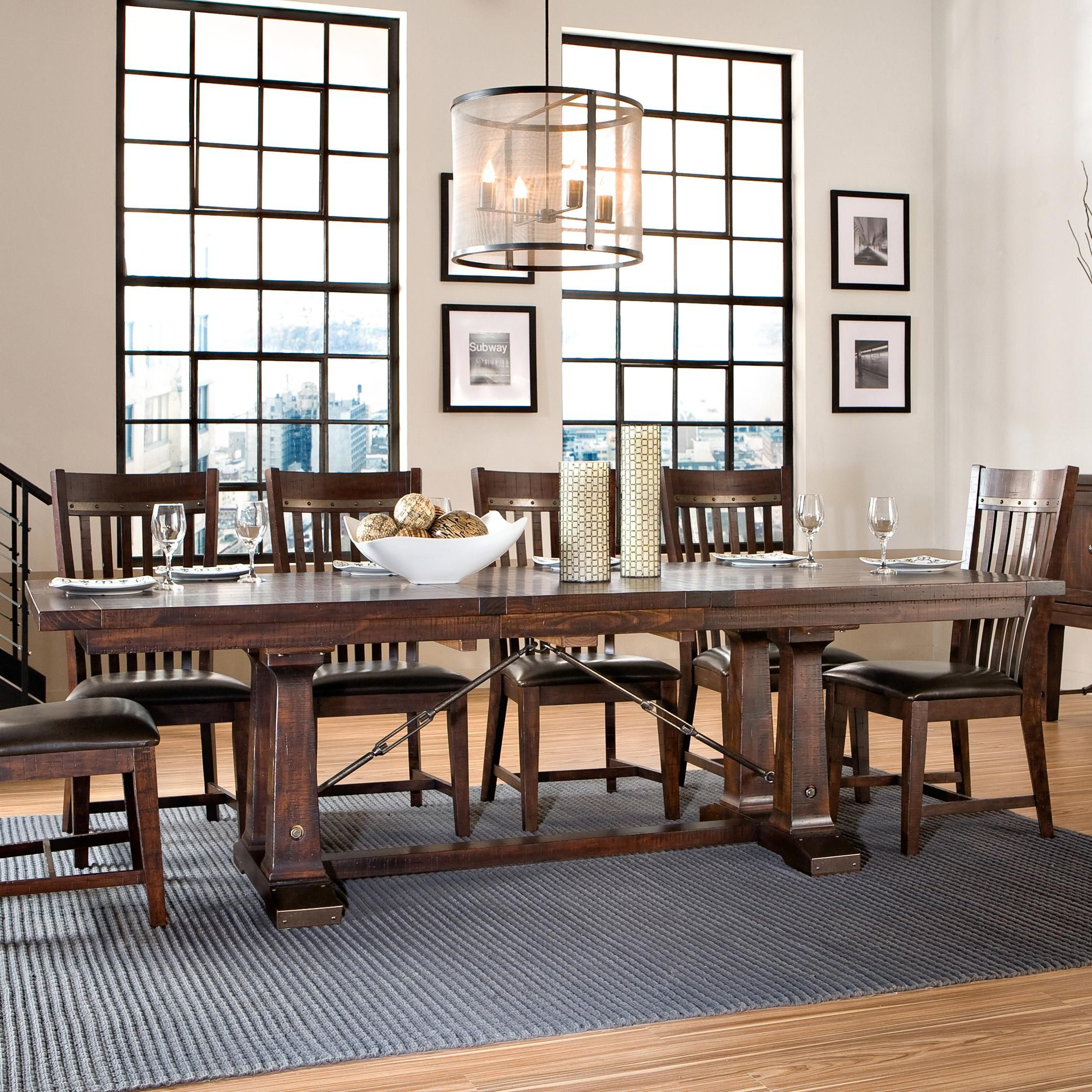 Hayden Trestle Dining Table With Metal Table Slides By Intercon