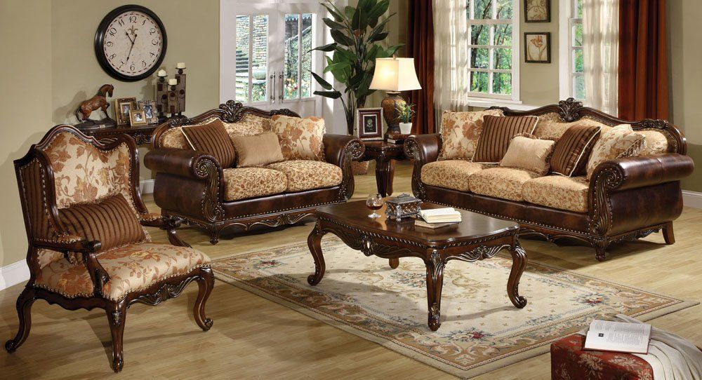 Classic wooden sofa set 2 best living room designs - Wooden furniture sets living room ...