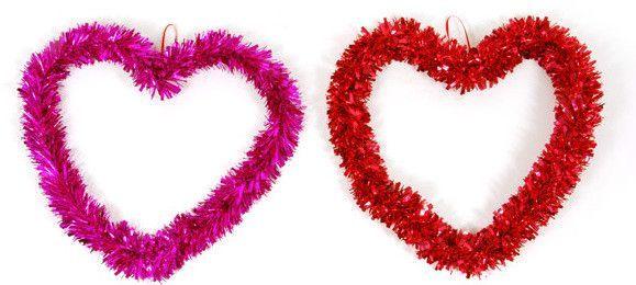 "valentine tinsel heart wreath (15"" x 13"") Case of 72"