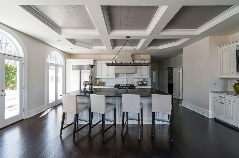 Modern Kitchen With White Coffered Ceiling The Coffers Are Panelled And Painted In Grey
