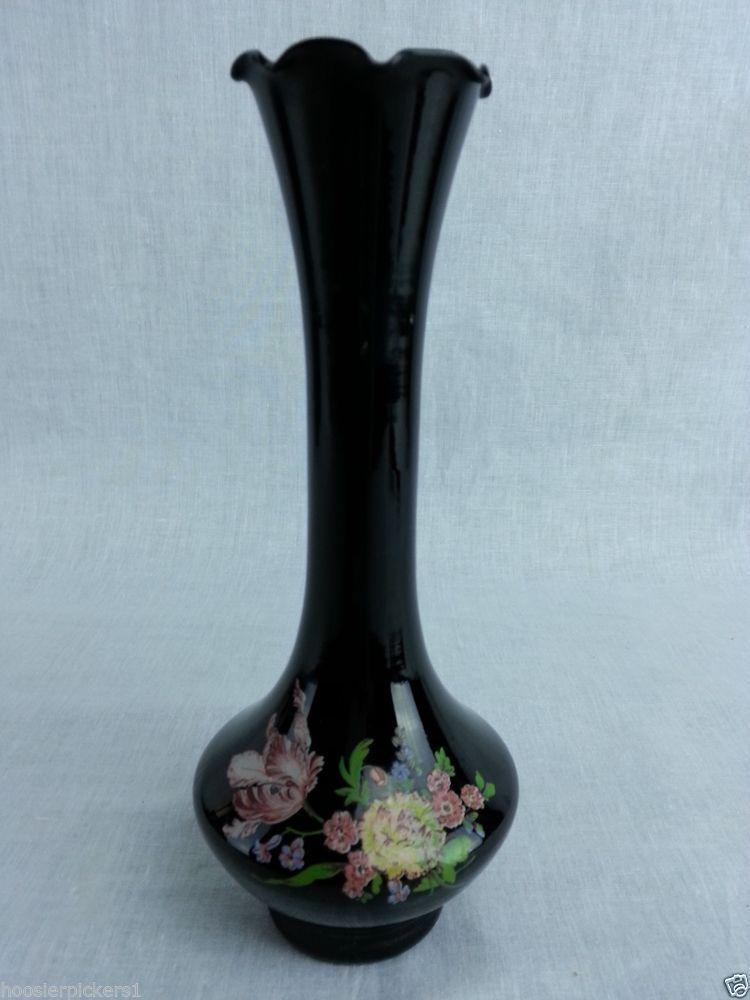 Vintage Black Amethyst Glass Vase Hand Painted Decorative Vase 8