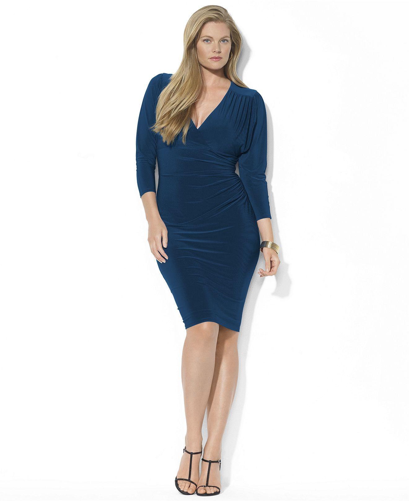 Lauren Ralph Lauren Plus Dress Three Quarter Sleeve Ruched Jersey
