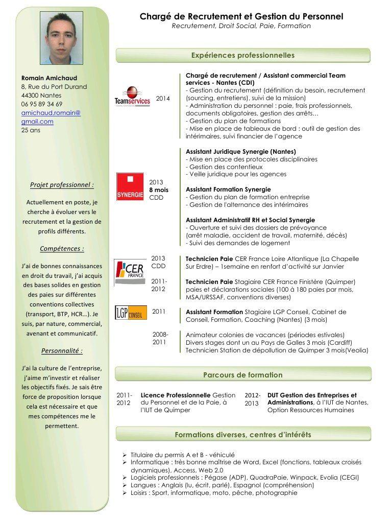 Cv charg de recrutement gestion du personnel cv for Emploi responsable espaces verts