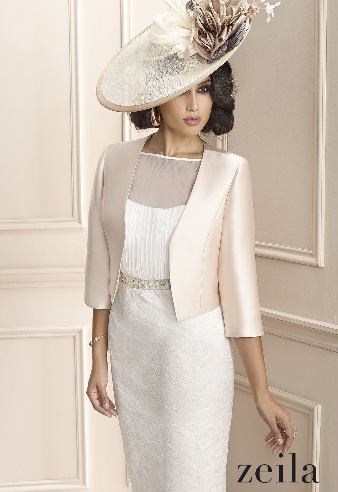 Ivory champagne zeila mother of the bride goom dress for Dress and jacket outfits for weddings