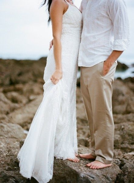 1826f33f90230 Hawaii wedding photoshoot  ) I like what he s wearing. Flip flops for the  ceremony