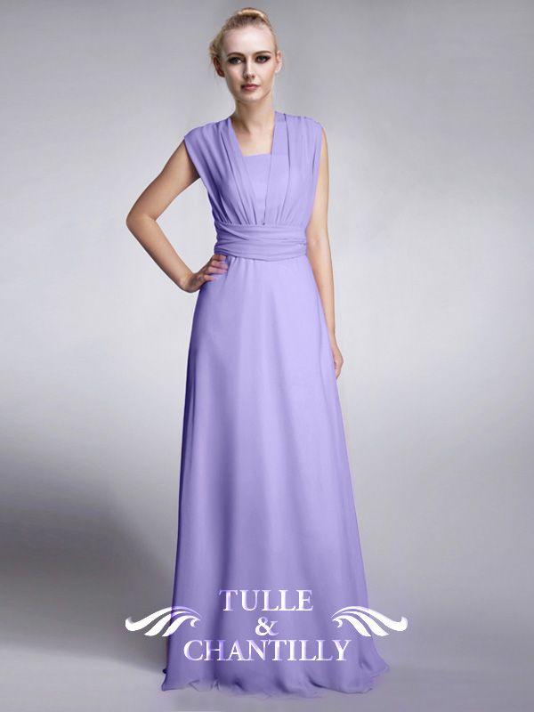Chiffon 4 in 1 Simple Pastel Lilac Bridesmaid Dress | Bridesmaid ...
