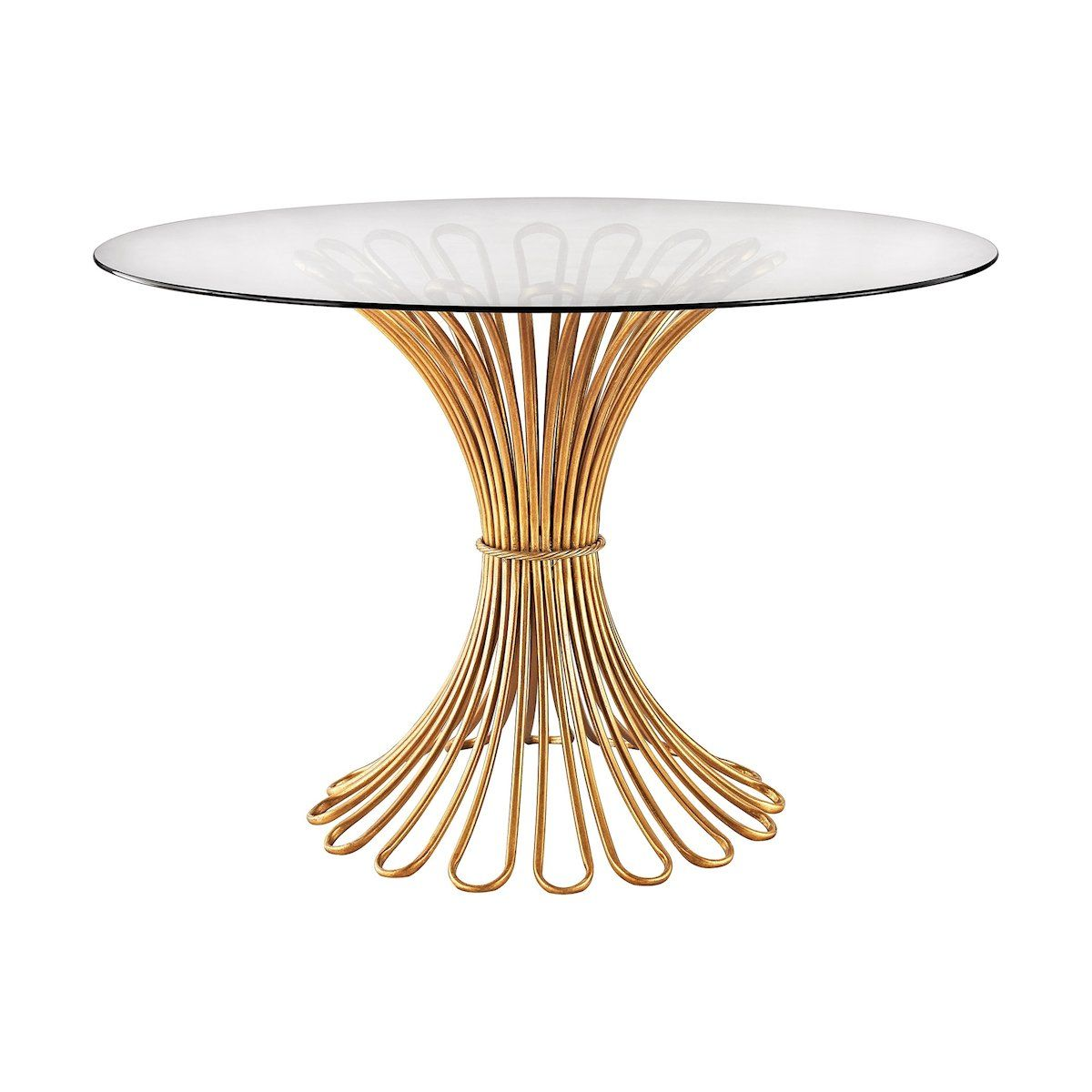 Flaired Rope Entry Table In Gold Leaf And Clear Glass by Dimond Home