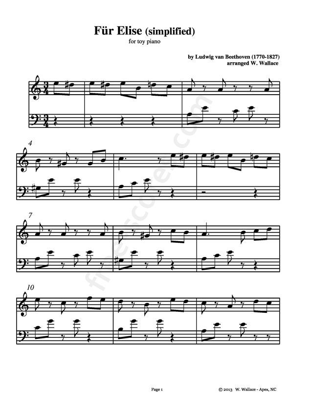 Free Sheet Music Beethoven Ludwig Van Fur Elise Simplified