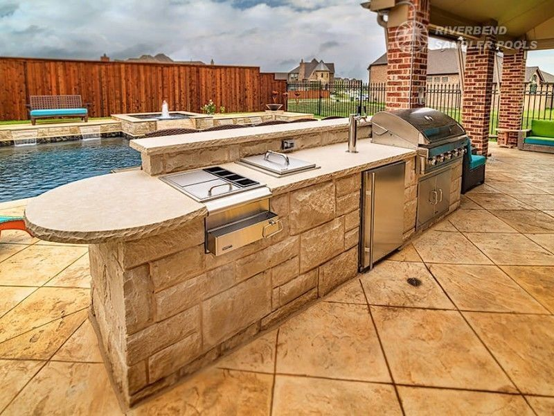 Outdoor Kitchen Dallas Frisco Outdoor Living Areas Pool Builder Concrete Fireplace Freestanding Fireplace Fireplace Seating