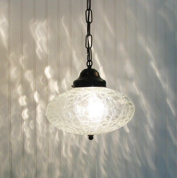 Kennibec Large Retro Clear Crackle Glass Pendant Light Glass Pendant Light Pendant Light Crackle Glass