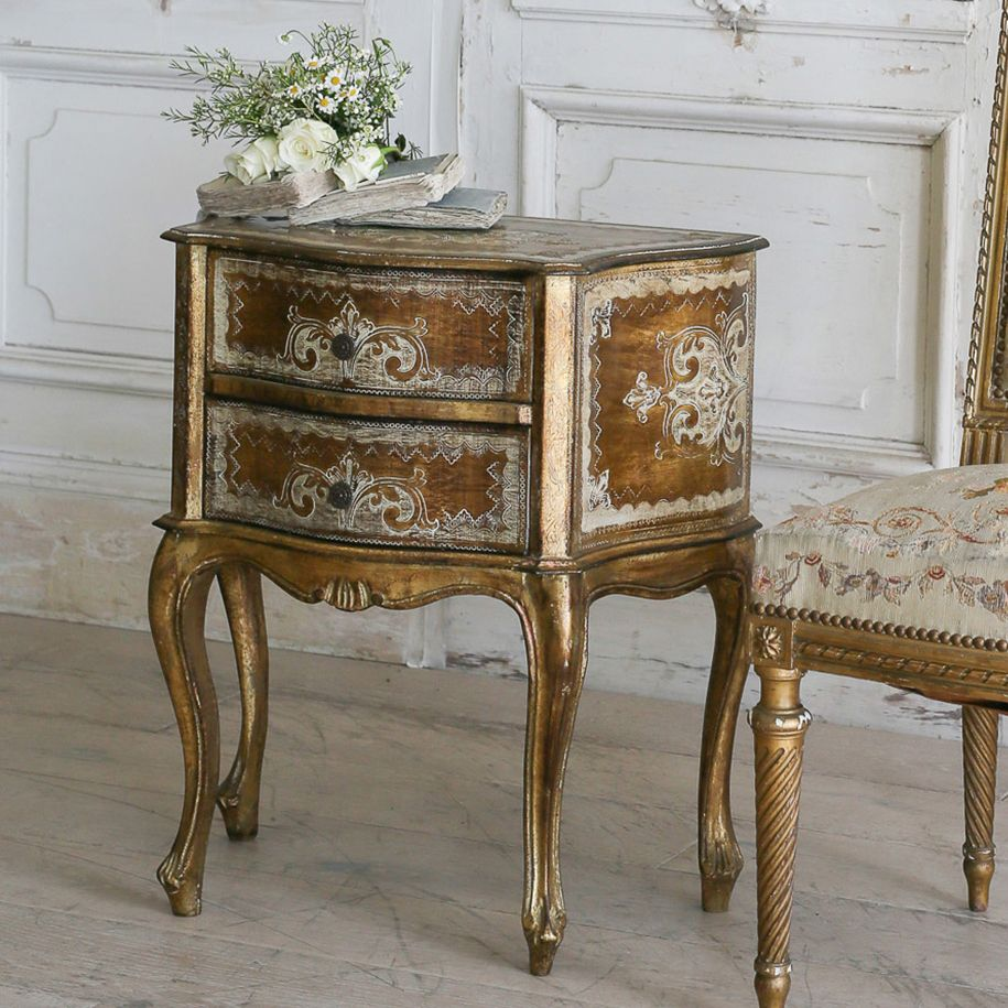Eloquence French Country Style Vintage Nightstand1930