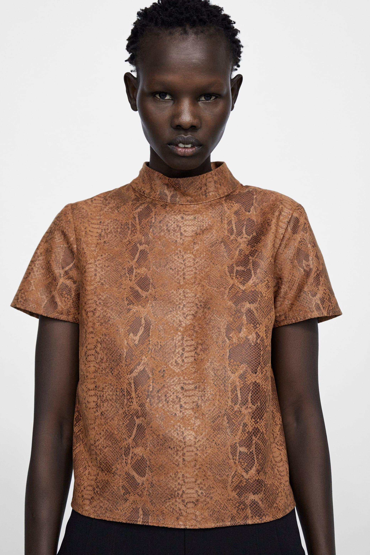 9b292ec4e52319 Faux suede snakeskin print top | Fashion | Snake skin, Tops, High ...