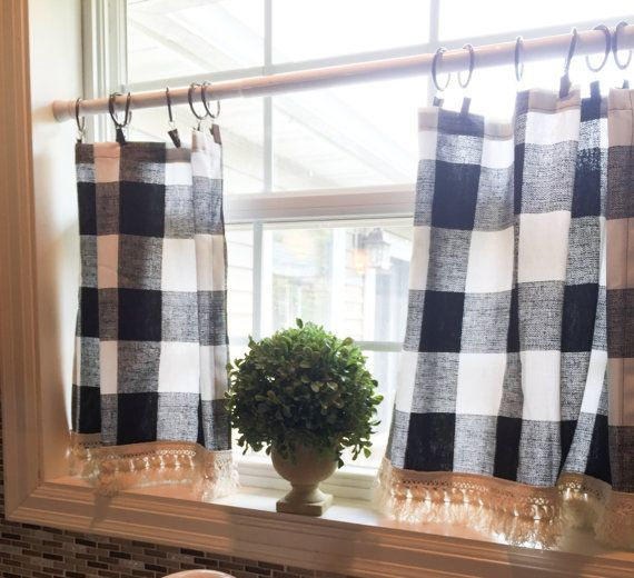 Plaid Cafe Curtain Buffalo Curtains Tassel Farmhouse Decor Pom Vintage Kitchen