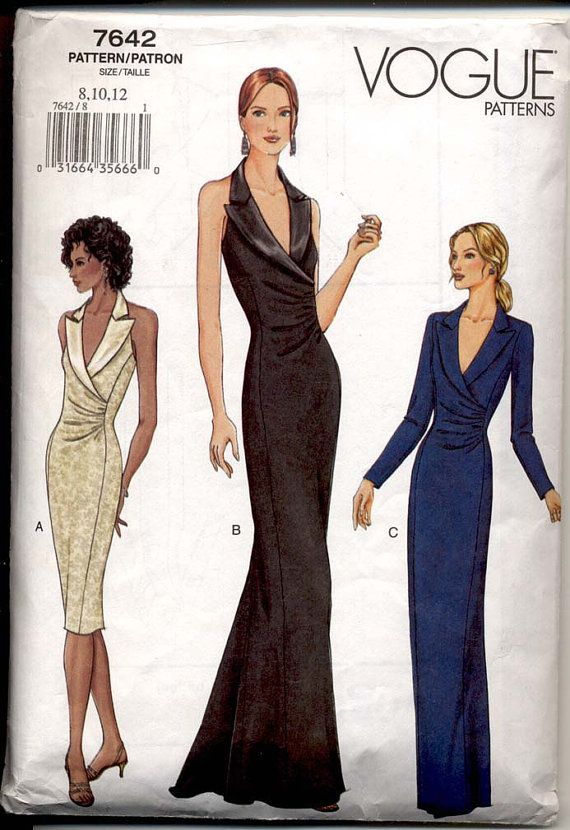 Plunge Neck Evening Dress Pattern Vogue 7642 Bust 31 to 34 Womens ...