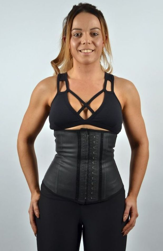 1919be463f8c7 Lucy miles in her waist trainer corset it is a bit jpg 618x953 Do waist  trainers