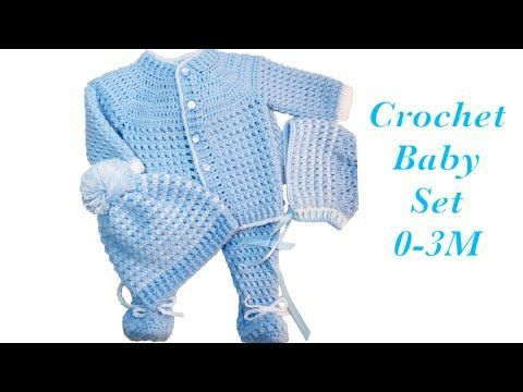 Photo of Baby Boy Set: How to crochet newborn bean stitch sweater jacket | cardigan 0-6M Crochet for Baby#171 – YouTube… – Crochet and Knit