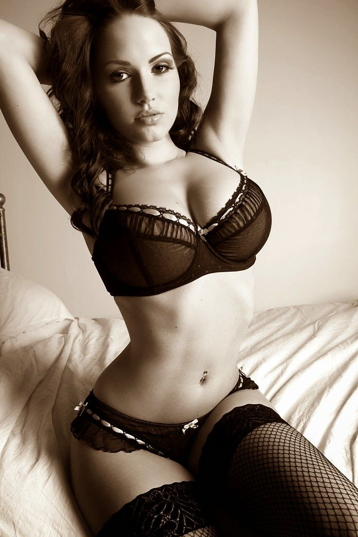 ebony lingerie cum shot - Dark haired lady in black bra and panties with fishnet stockings