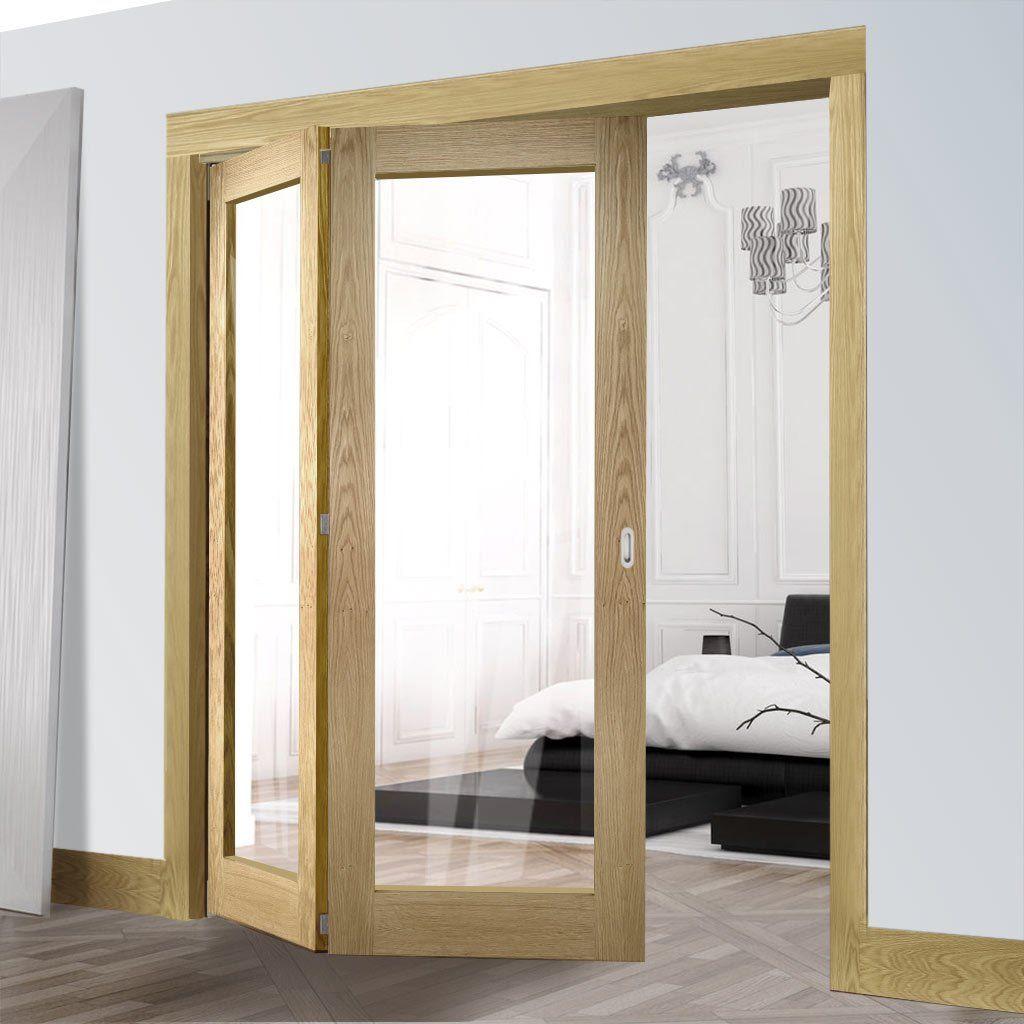 Deanta 2 Door Folding Set Walden Oak Veneer Door With Clear Glass Unfinished 2060mm High 1295mm Or 1447 Folding Doors Internal Folding Doors Clear Glass