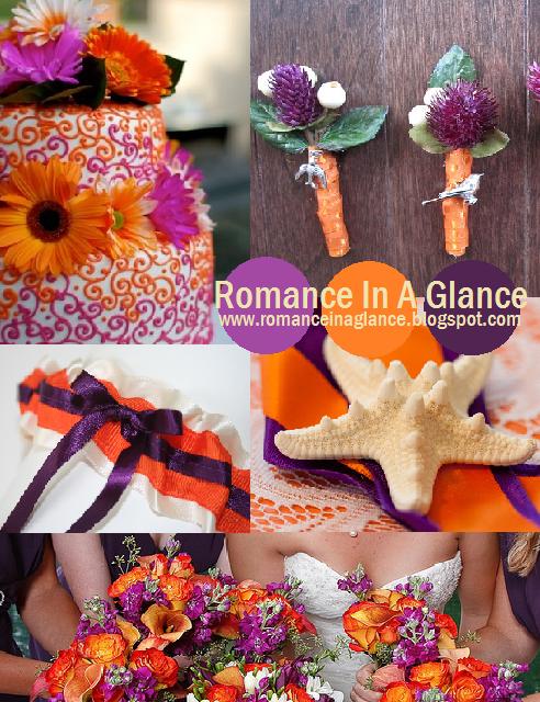 Purple And Orange Wedding Garter Ideas
