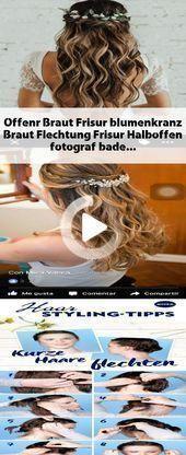 Bride ouverte hairstyle #Floral wreath #Bridal #Braid #Hairstyle #Half Open, #Floral wreath #Bride in 2020 | Hair styles, Bride hairstyles, Black hair updo hairstyles