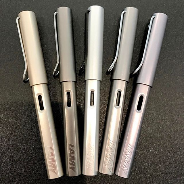 """The first two are Lamy LX. The rest are Lamy Al-Star. I've been asked if the LX are """"worth"""" the price. My thought is that if you collect Lamy, they are a nice addition. Otherwise, get a Safari or Al-Star. They wrote the same. It's a matter of looks. . . . #fountainpen #lamyalstar #lamylx #pen #penaddict #collection #collectthemall"""